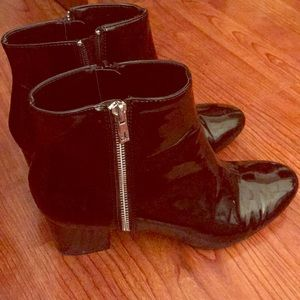 Calvin Klein Patent Leather Ankle Booties Sz 10